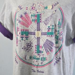 Vintage TShirt Puffy Paint Native American Design